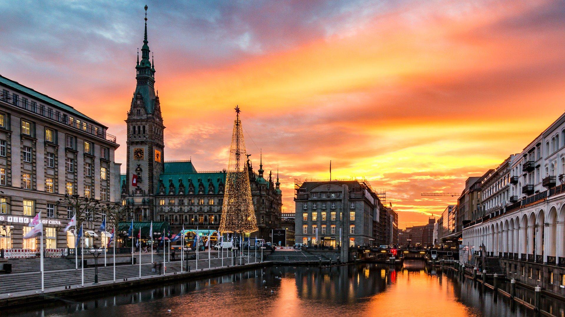 Hamburg canal sunset