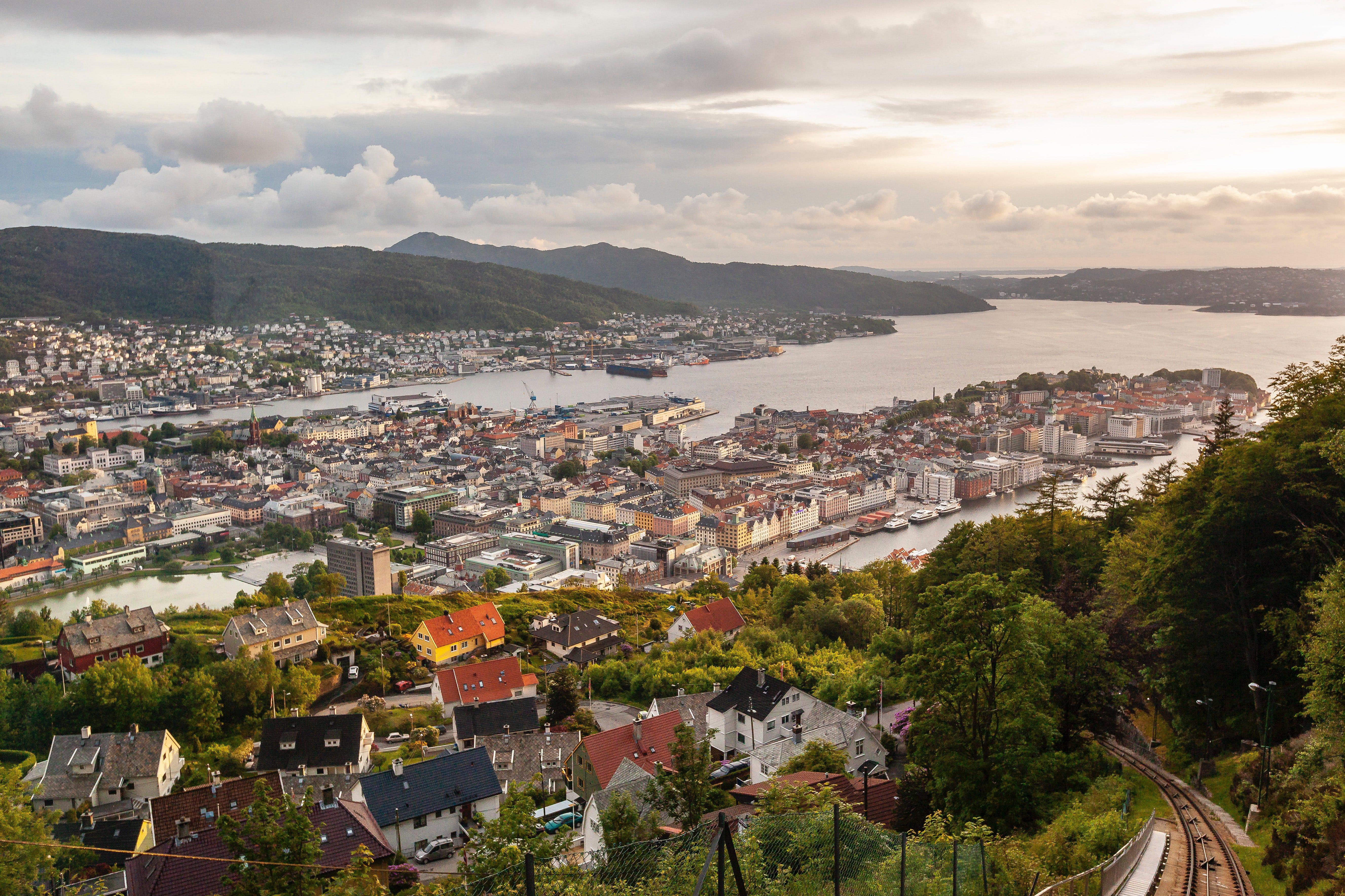 Bergen view from mount Floyen